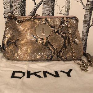 DKNY snake print leather evening bag